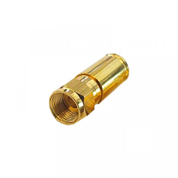 F Kompressionsstecker für 8 - 8,2 mm Koax Kabel Vergoldet