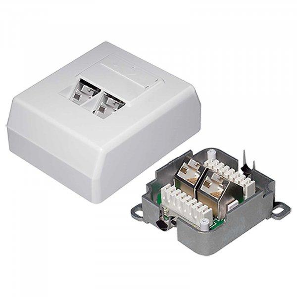 CAT 6A Netzwerkdose Datendose LAN DSL Dose 2 Port 500MHz STP Aufputz geschirmt